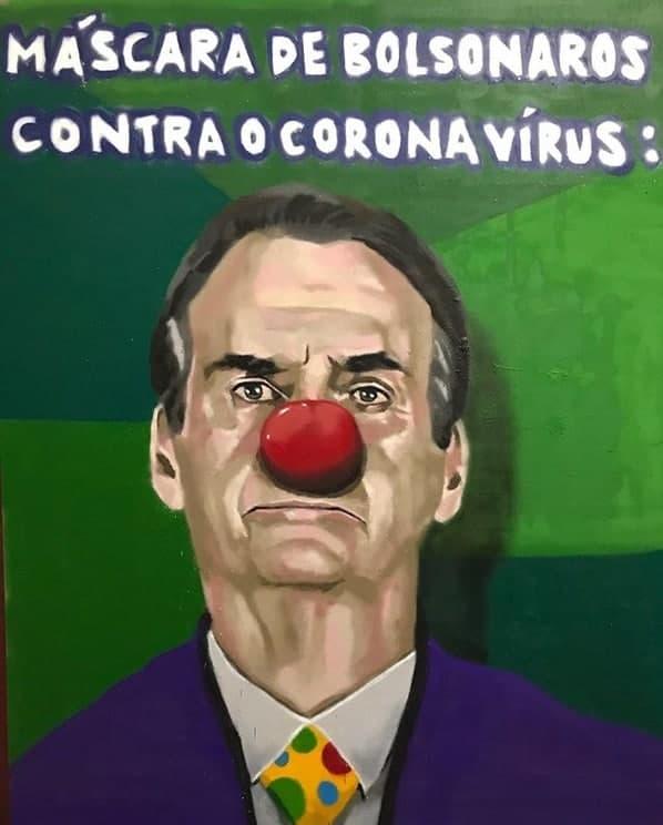 Aira Ocrespo - Máscara de Bolsonaros contra o coronavírus. Street Art