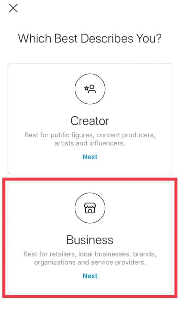 Screenshot of process to create an Instagram business account