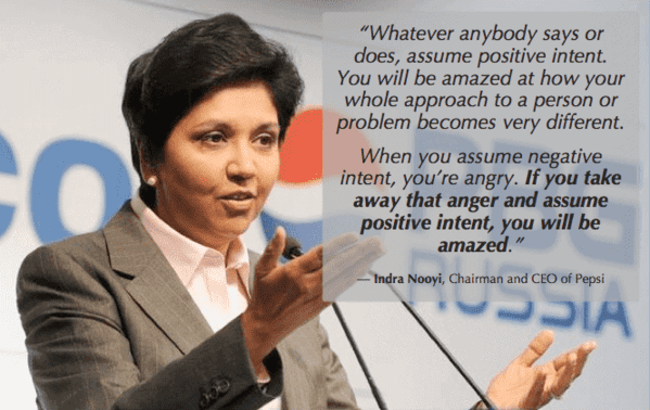 self awareness includes giving yourself, and others, the benefit of the doubt like Indra Nooyi does