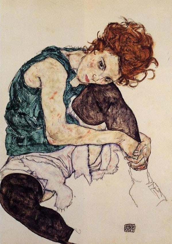 Egon Schiele, Seated Woman with Bent Knee