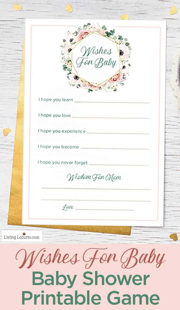 Wishes for Baby Free Printable Baby Shower Game is always a great baby shower activity and special keepsake for the mom to be!
