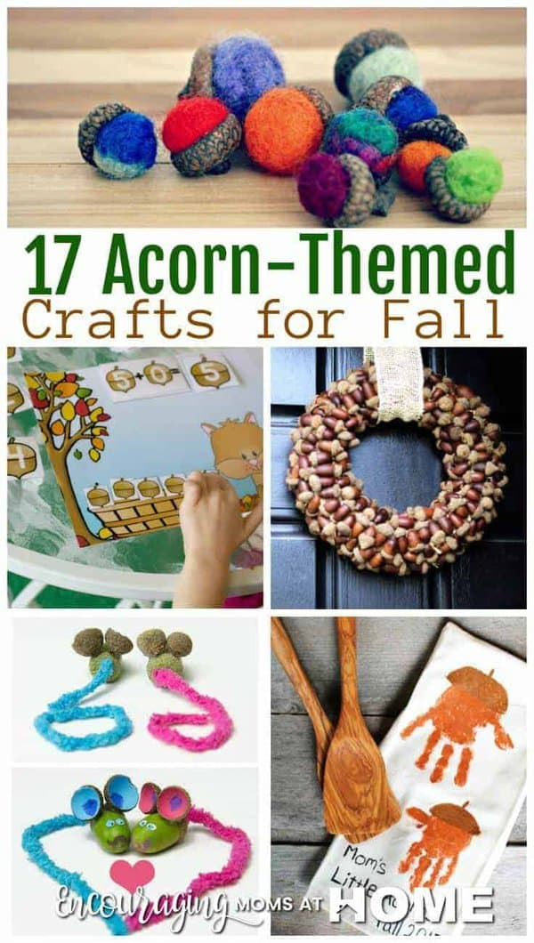 Do you have an abundance of acorns in your yard this fall?  If so, why not put them to creative use?  Here is a great list of acorn themed crafts for your kids this fall.
