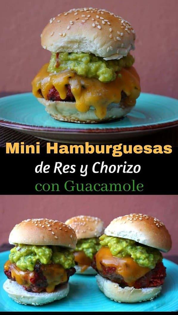 Hamburguesas de Res Y Chorizo Con Guacamole