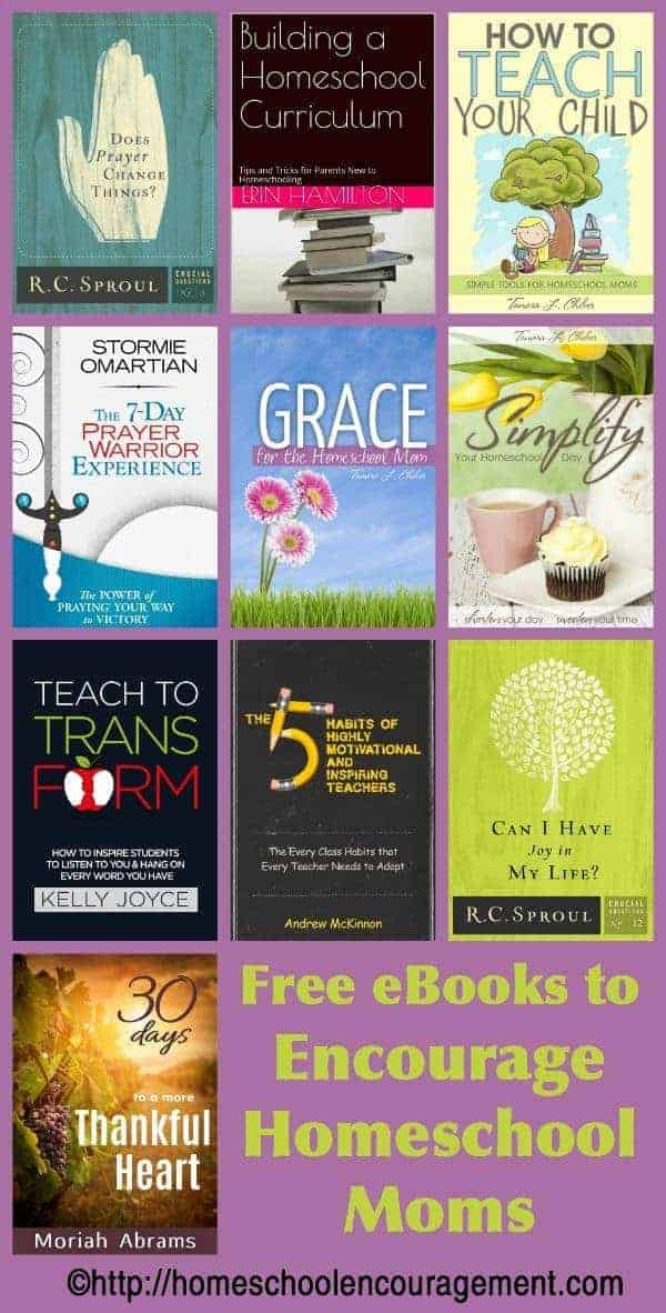 Need encouragement in your homeschool journey. Here is a great list of free ebooks to inspire homeschool moms.