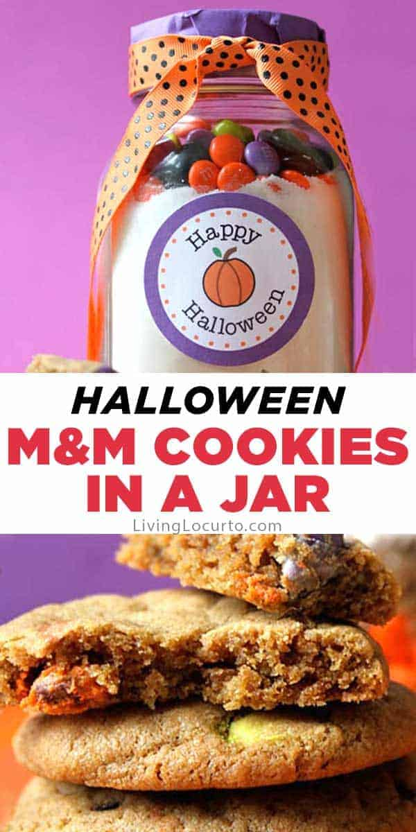 Halloween M&M Cookies in a Jar Recipe and free Printable gift Tags.