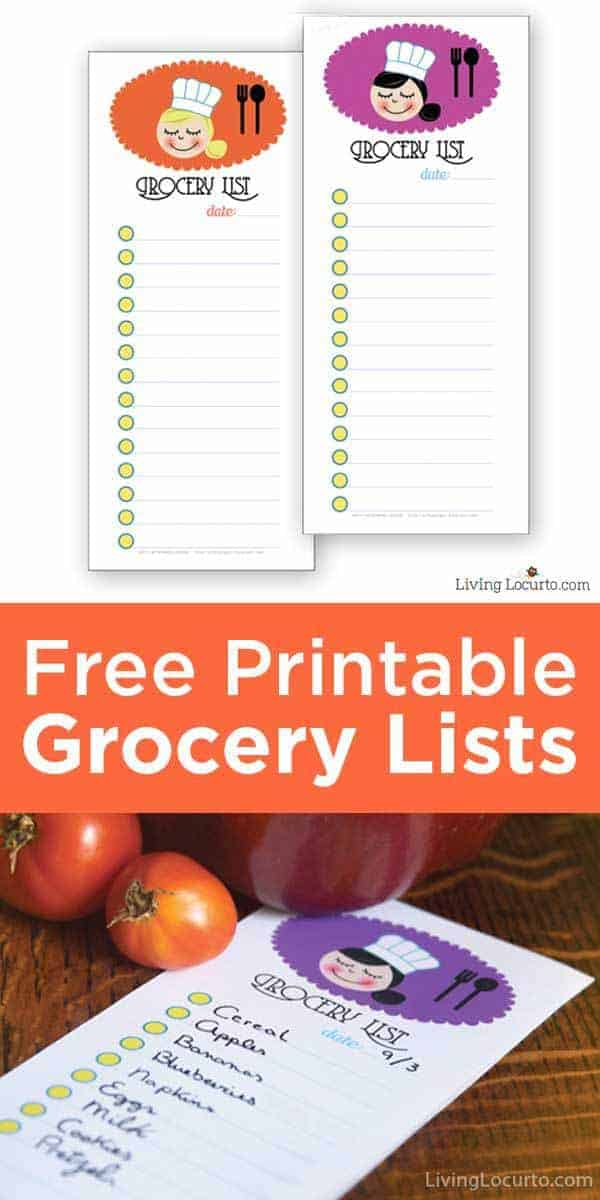 These are adorable Free Printable Grocery Shopping Lists to help you plan for weekly dinners and holiday entertaining. Get meals organized with fun grocery list notes. #freeprintables