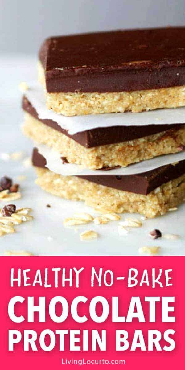 No bake homemade chocolate protein bars are the perfect healthy snack. Gluten free easy recipe packed with protein and calcium.