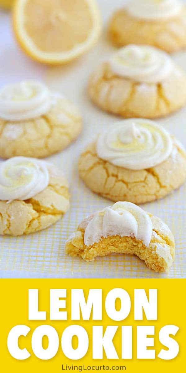 Easy lemon cookies recipe with homemade lemon frosting. Soft and fluffy melt in your mouth lemon crinkle cake mix cookies! LivingLocurto.com
