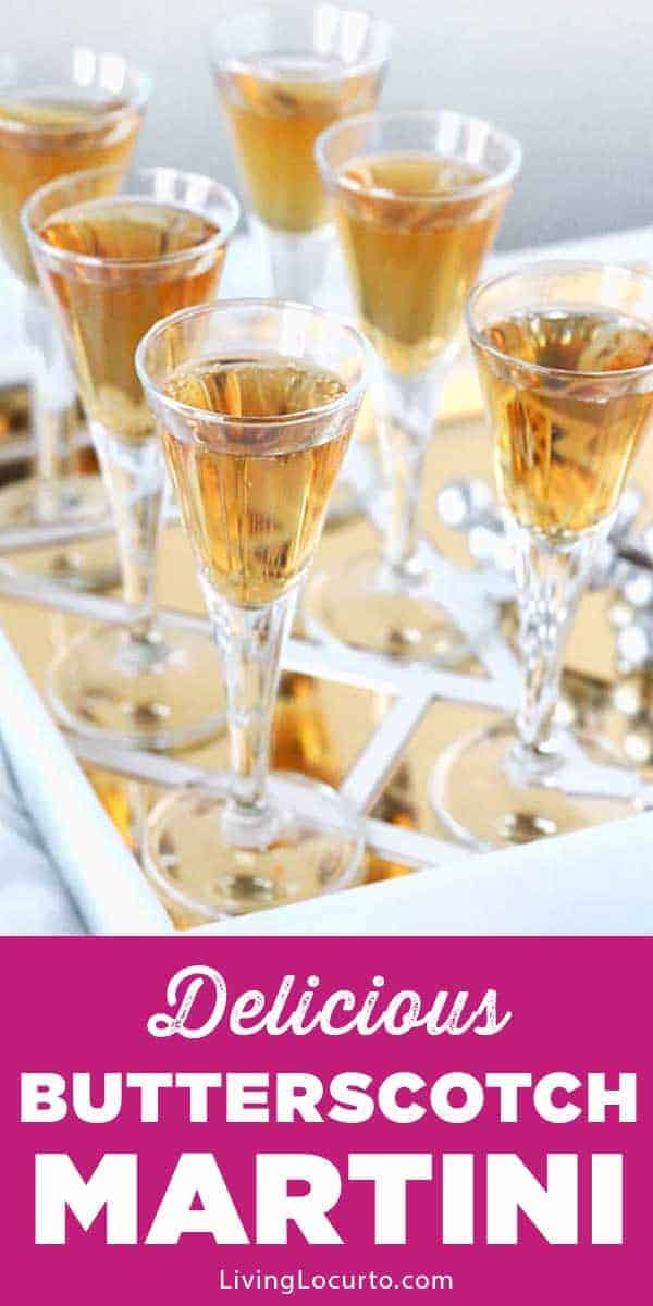 Easy Butterscotch Martini Recipe - Simple vodka cocktail for a party. LivingLocurto.com