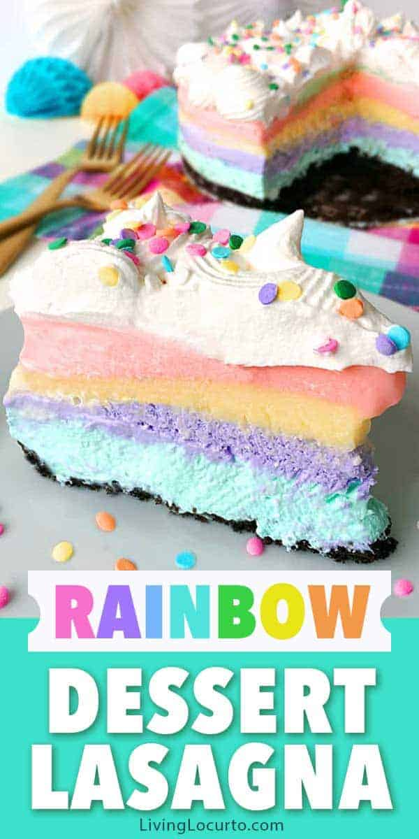 Magical Unicorn Rainbow Dessert Lasagna! An easy no-bake dessert recipe for a unicorn birthday party or to bring color into any celebration!