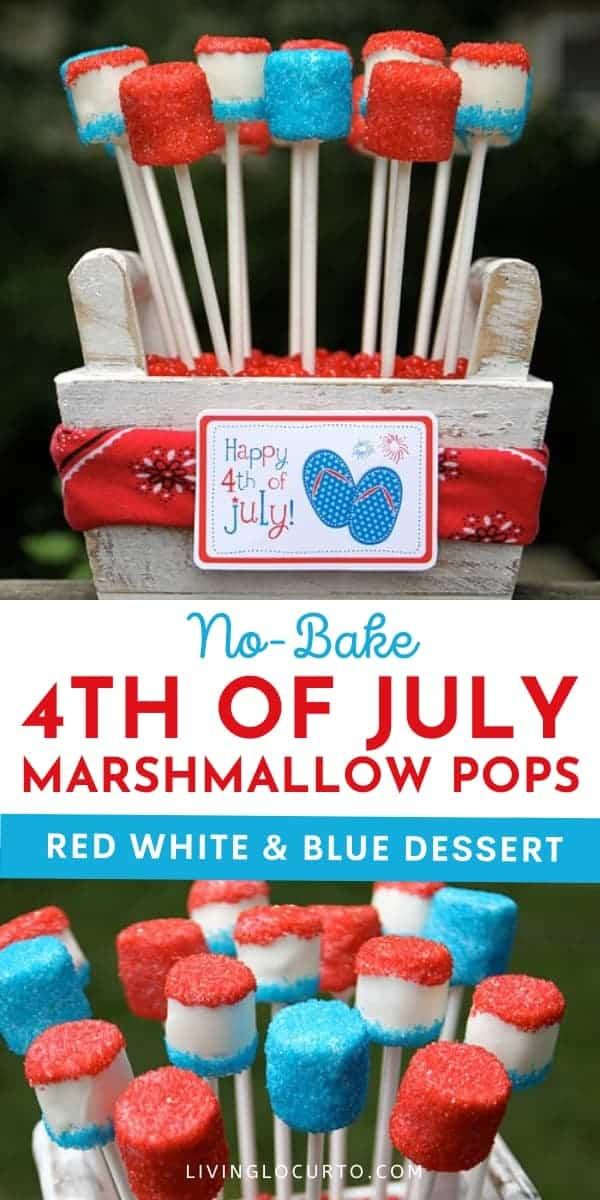 4th of July Dessert Marshmallow Pops Recipe