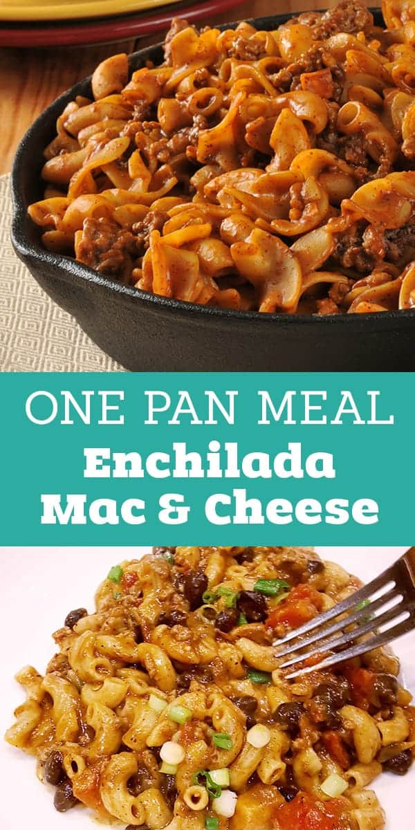 This One Pot Enchilada Mac and Cheese is simple to make and always a winning recipe! Have dinner on the table in 30 minutes!