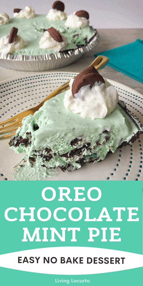Oreo Chocolate Mint Pie no Bake Dessert