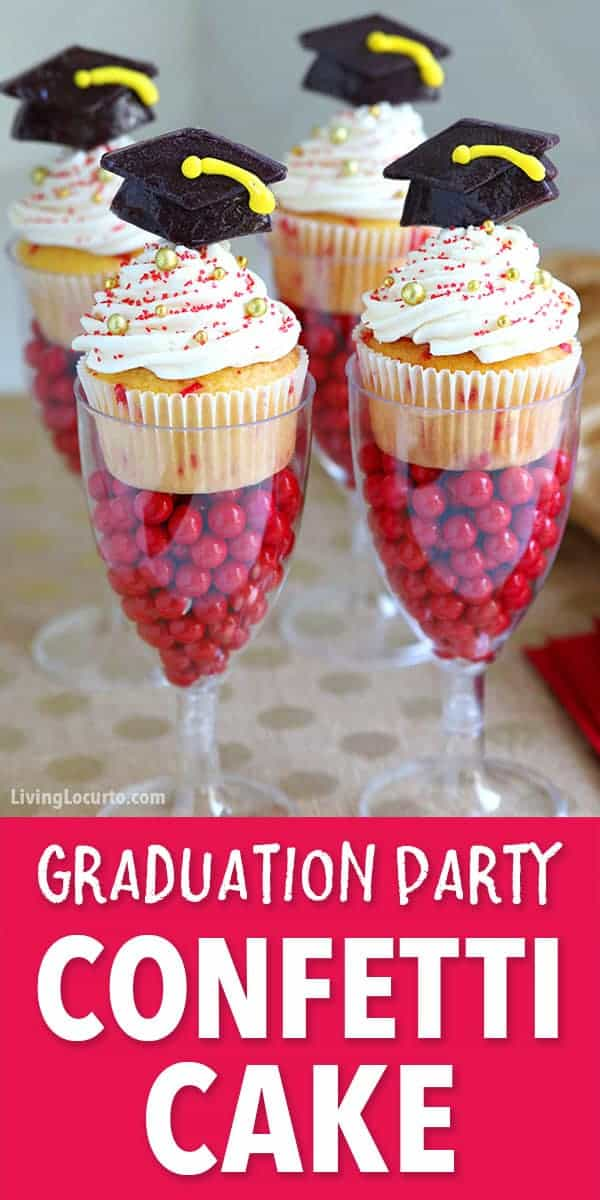 Funfetti Graduation Cupcakes in DIY candy filled cake stands will get an A+ grade at your Graduation Party! Simple dessert recipe. #graduation