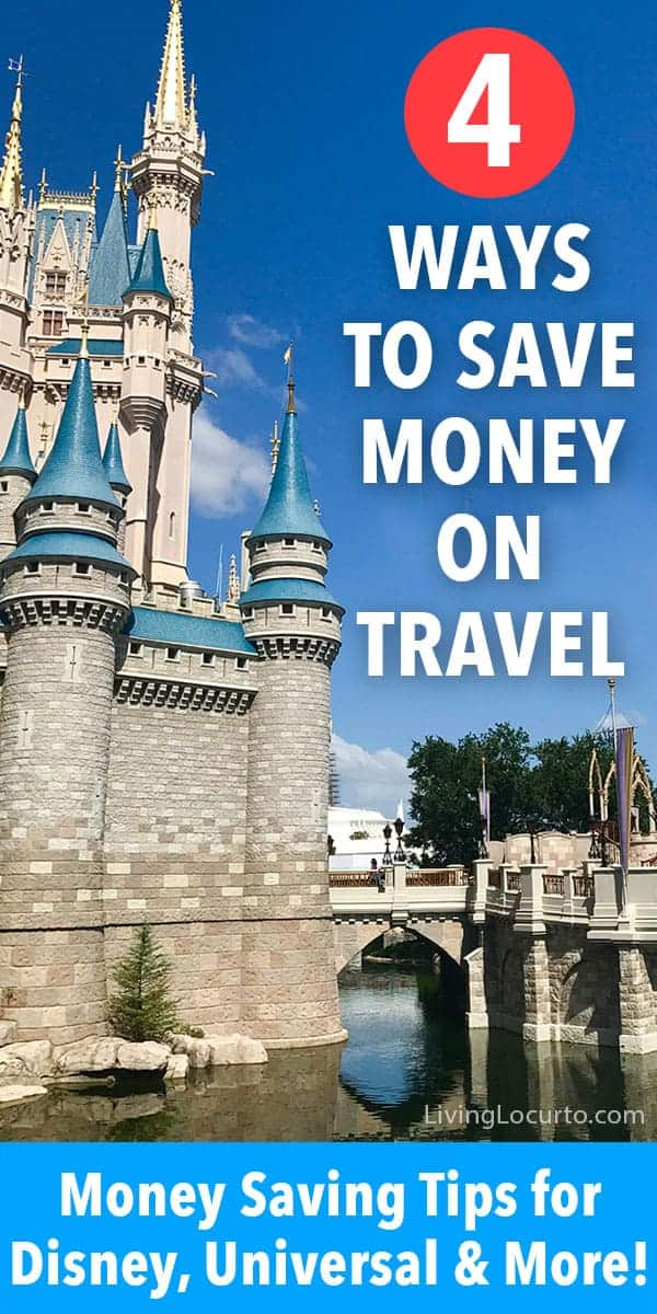 4 simple tips to save money on travel. Money saving tips for Disney World, Universal Orlando and other family vacations! Best ideas for finding cheap flights, travel hacks and more. #travel #disney #savemoney #vacation #livinglocurto #traveltips