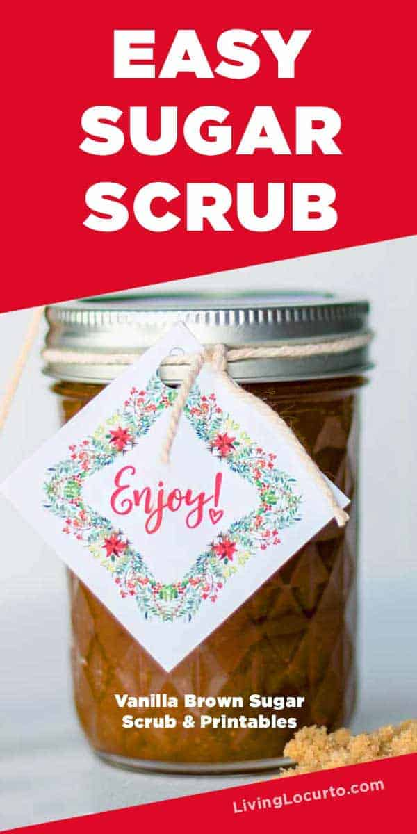 Easy homemade Vanilla and Brown Sugar Body Scrub Recipe with Printable Tags