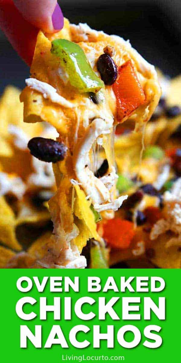 Easy Baked Chicken Nachos Recipe! These sheet pan nachos with chicken loaded with your favorite toppings make the perfect quick dinner or party snack!