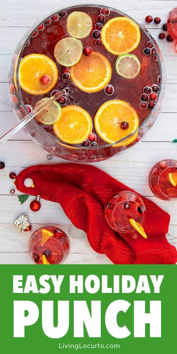A Holiday Punch Recipe that is perfect for Christmas or a New Year's Eve Party! This EASY 5 ingredient cranberry ginger ale spiked punch is the best drink to serve this season. #drinks #Christmas
