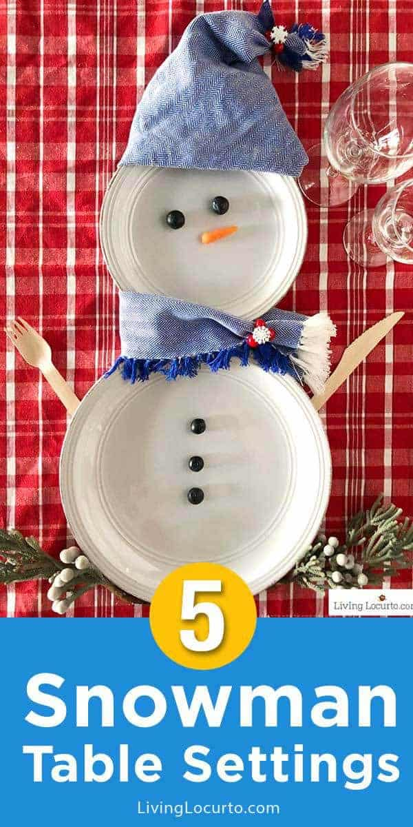 Cute snowman plates for Christmas table setting decorations! Simple DIY snowman place setting crafts to make and decorate for a holiday party tablescape.