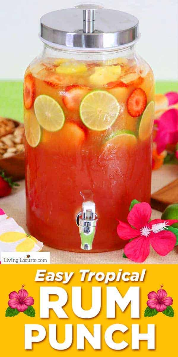 Tropical rum punch is an easy cocktail recipe for a luau party or to sip by the pool! A pitcher drink mixture of juice and coconut rum.
