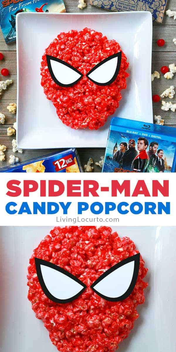 Spiderman Candy Popcorn recipe made with sour cherry candy. Easy party snack.
