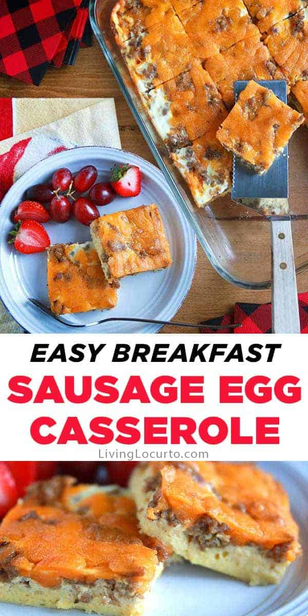 Easy Sausage Egg Casserole is a family favorite breakfast! A make-ahead egg recipe with gooey cheese and sausage is perfect for any occasion or Christmas!