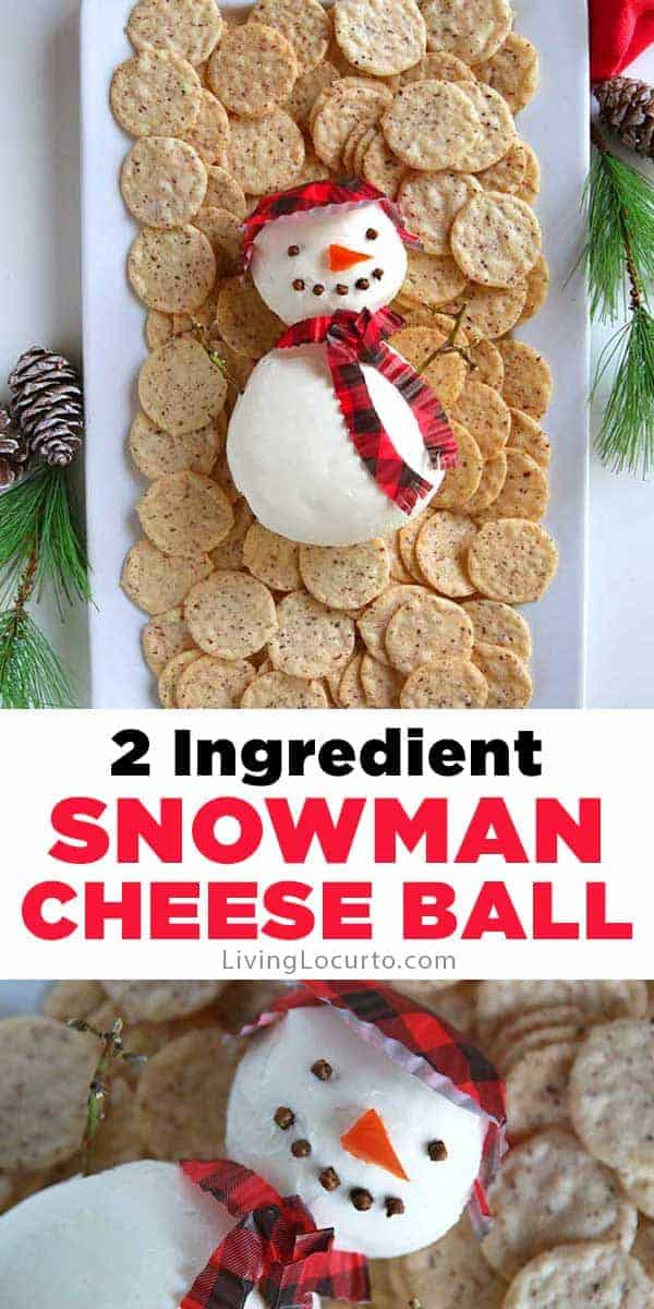 Cute Snowman Cheese Ball Recipe. Easy Christmas Party Appetizer