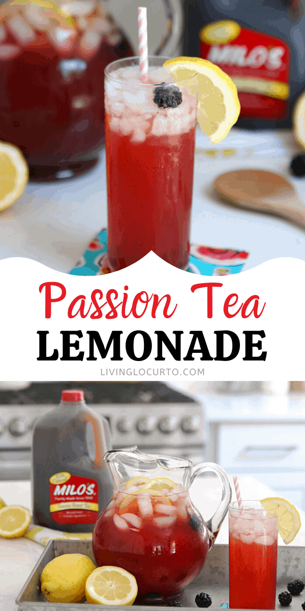 Easy Passion Tea Lemonade recipe by the pitcher made with sweet tea and fresh blackberries.