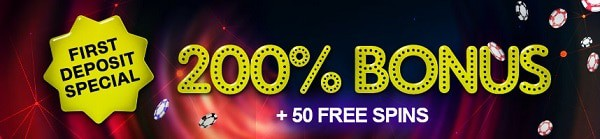 200% welcome bonus and 50 free spins