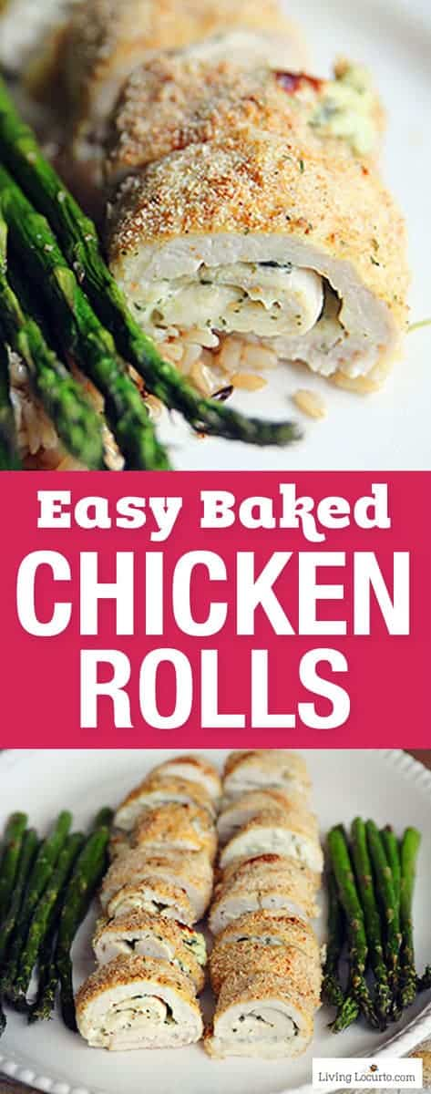 Wow your family with these Crispy Oven Baked Chicken Rolls! An easy chicken recipe filled with pesto and cream cheese baked until golden brown. Such a simple family dinner idea. Skip the rice for a low carb recipe and Keto diet meal. Served with roasted asparagus and rice this is a quick family meal. #chicken #recipe #recipeoftheday #asparagus #bakedchicken #pesto #dinner #recipeideas #chickenrecipe #livinglocurto #keto #lowcarb
