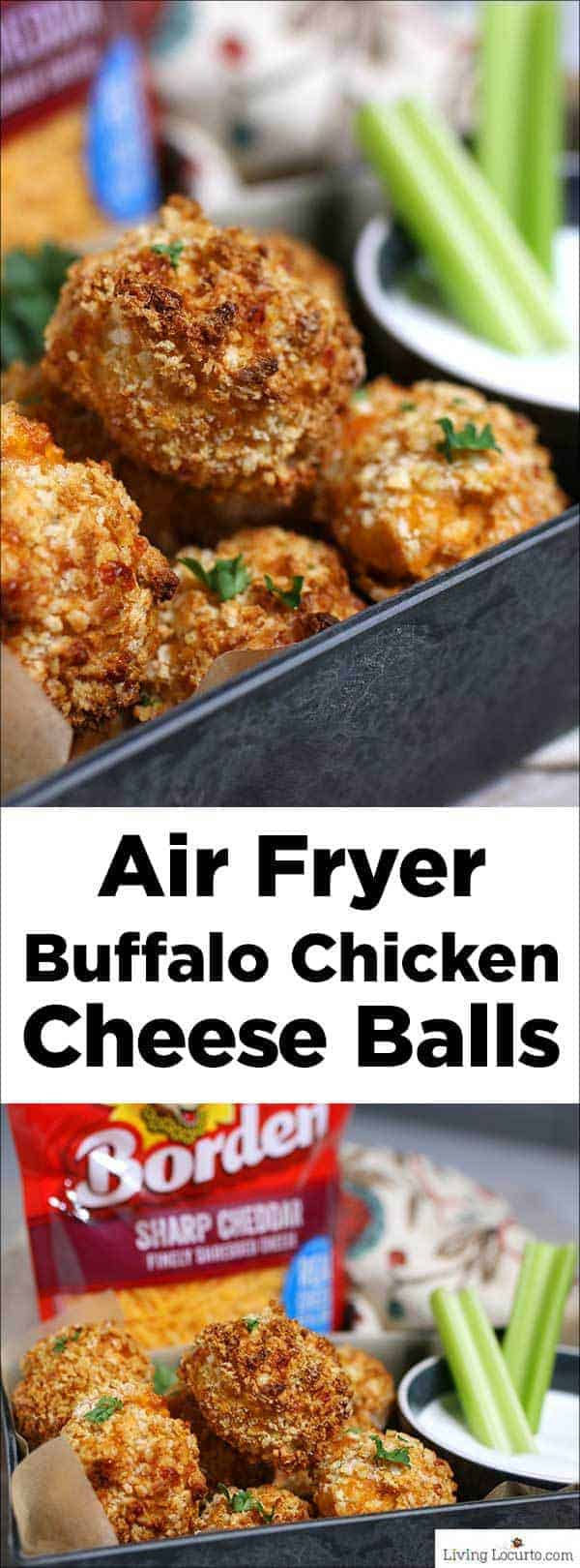 Air Fryer Buffalo Chicken Cheese Balls are a simple game day recipe made with Buffalo chicken, cheddar cheese and blue cheese dipping sauce. Easy party appetizer or snack. #recipe #airfryer
