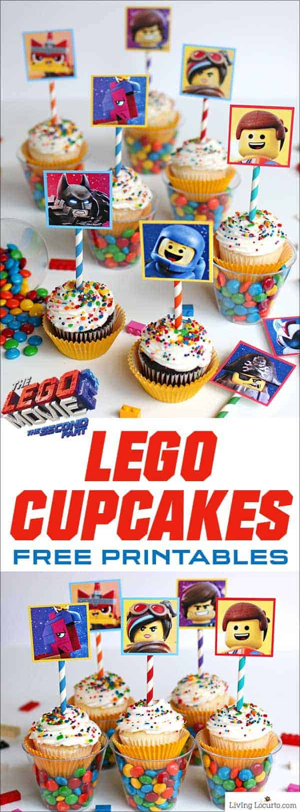 LEGO Cupcakes with free printables from The LEGO Movie 2. A fun dessert idea for a LEGO birthday party. Colorful candy cups make an extra awesome treat! #LEGO #Partyideas #printables #cupcakes