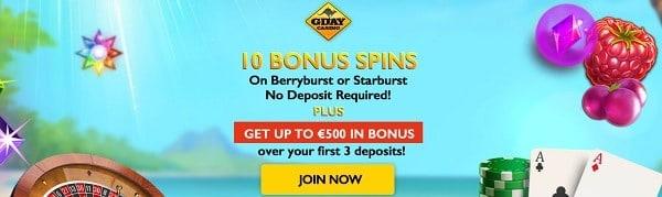 10 free spins on Starburst or Berryburst at GdayCasino.com