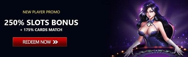 250% slot bonus match