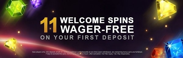 11 welcome spins wager-free bonus at Videoslots Casino