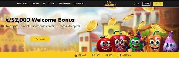 24K exclusive bonus 100 free spins