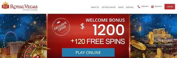 Royal Vegas Welcome Bonus $1200 and 120 free spins