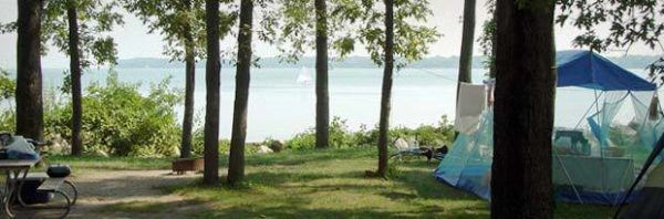 Beachfront camping on kelley's island.