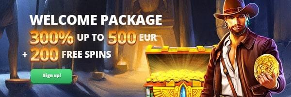 300% bonus + 200 Free Spins