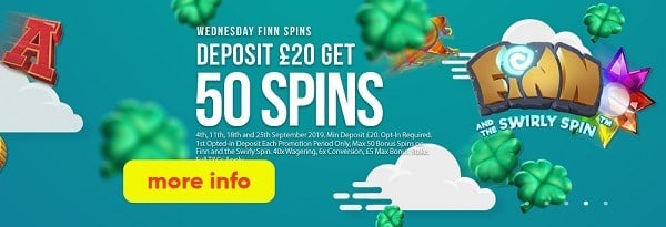 Deposit 20 GBP and get 50 free spins every week
