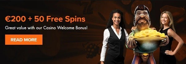 50 free spins and 100% welcome bonus