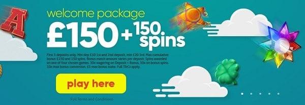 Welcome Bonus: 150 gratis spins and 150% free bonus