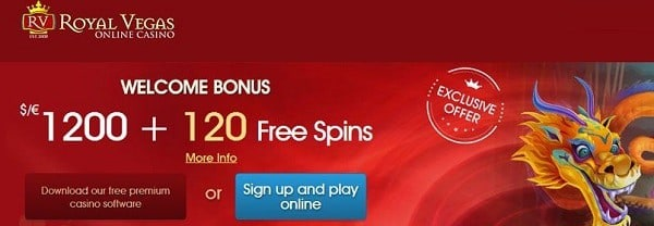 Royal Vegas Casino Welcome Bonus: 120 free spins and $1200 free cash