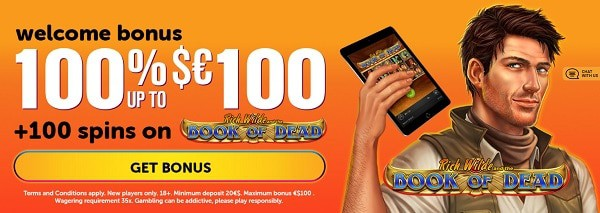 100 free spins on Book of Dead at Wild Slots Casino