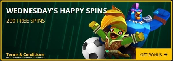 200 free spins on Wednesday