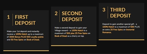 1st, 2nd, 3rd deposit bonus - 300% up to 400 EUR and 95 free spins