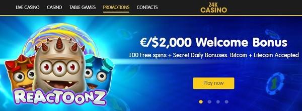 24KCasino.com Welcome Bonus Pack