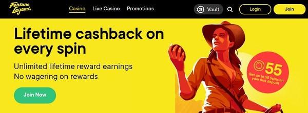 Fortune Legends free spins bonus