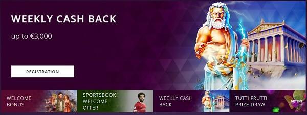 Malina Casino cashback and loyalty rewards