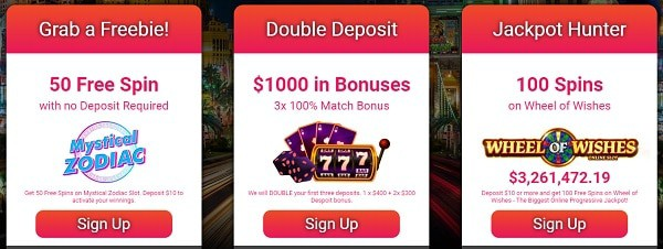 50 No Deposit Free Spins + $1,000 Welcome Bonus + 100 Jackpot Spins on Wheel of Wishes!